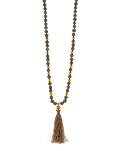 Hannah Beaded Druzy Tassel Necklace, Gray/Golden