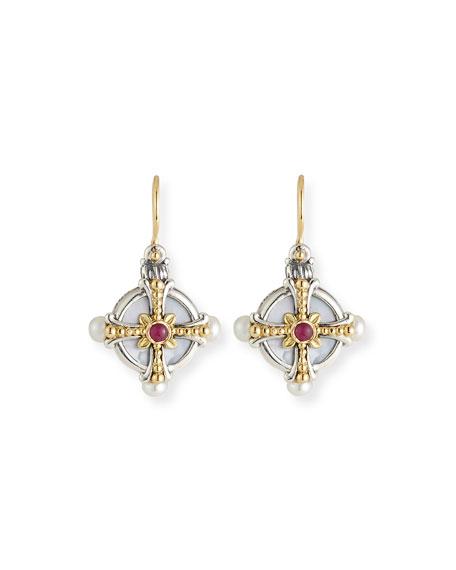 Konstantino Hestia Pearl & Ruby Drop Earrings