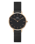 Classic Petite Ashfield Bracelet Watch, Black/Rose-Golden