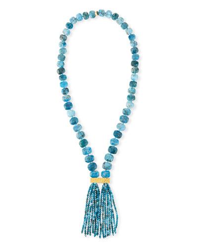 Apatite Double Tassel Pendant Necklace