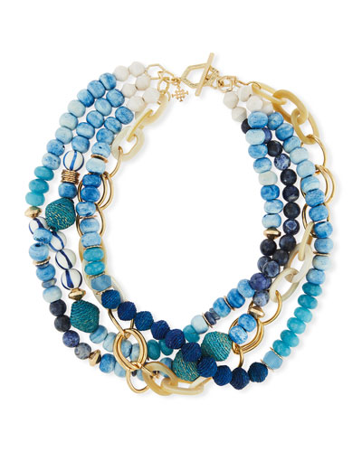 Twisted Multi-Strand Necklace, Blue, 22