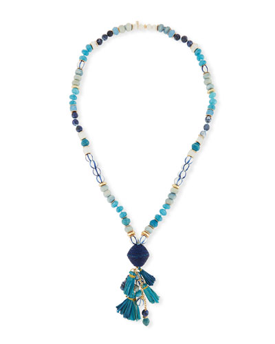 Long Mixed Bead Necklace w/ Multi-Tassel Drop, 36