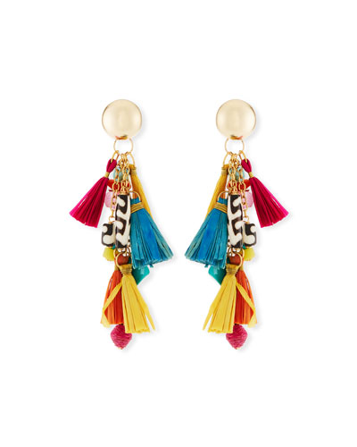 Akola Multi-Tassel Fan Earrings t1ywYTolp