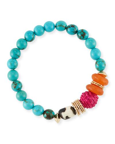 Turquoise Howlite Beaded Bracelet, 7.25