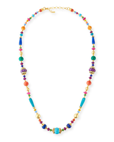 Agate, Jade & Turquoise Beaded Necklace