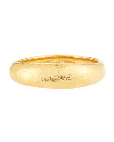 Majorica 18-Karat Gold-Plated Bangle with Logo Charm, 2Dia