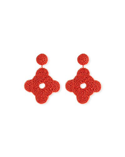 Beaded Geometric Drop Earrings, Coral
