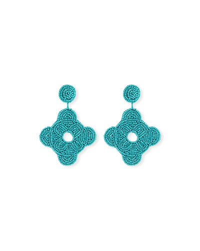 Beaded Geometric Drop Earrings, Turquoise