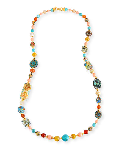 Long Beaded Necklace w/Mixed Stations, 36