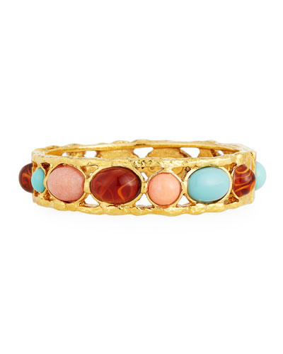 Mixed Cabochon-Studded Open-Frame Bangle Bracelet