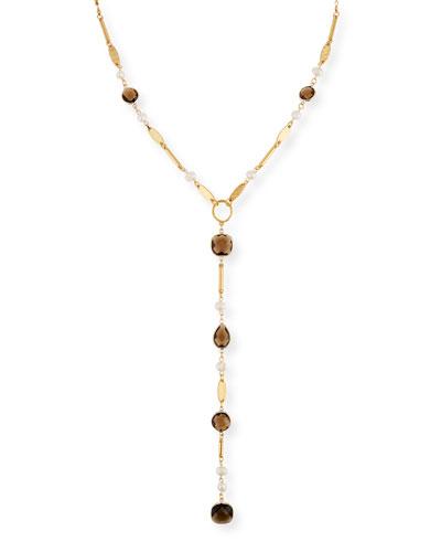 Faceted Crystal Y-Drop Necklace