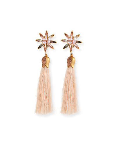 Floral Crystal Tassel Earrings