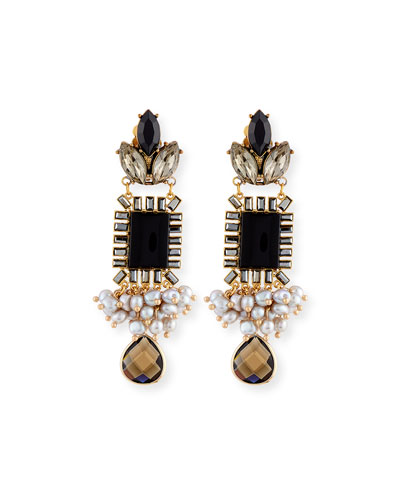 Mixed Crystal Statement Earrings, Black