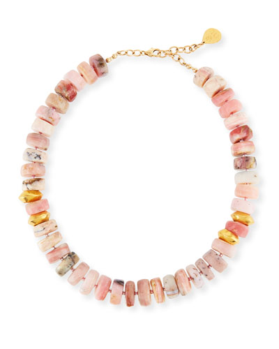Short Pink Opal Nugget Beaded Necklace