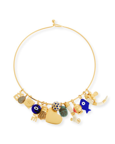 Mixed Charm Statement Collar Necklace
