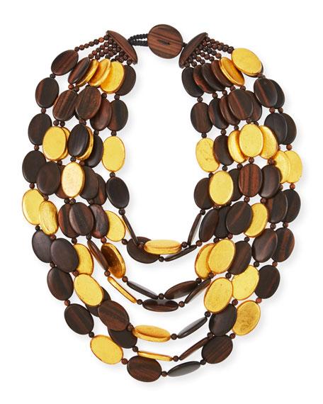 Viktoria Hayman Multi-Strand Golden Wood Necklace