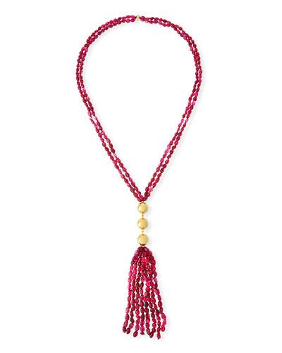 Beaded Quartz Tassel Necklace
