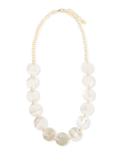 Mother-of-Pearl Disc Station Necklace, 40