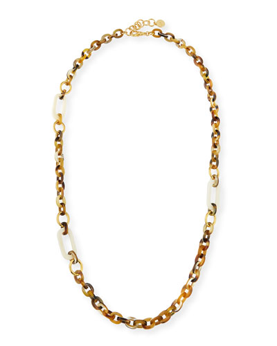 Horn Link Necklace w/ Bone & Golden Accents, 36