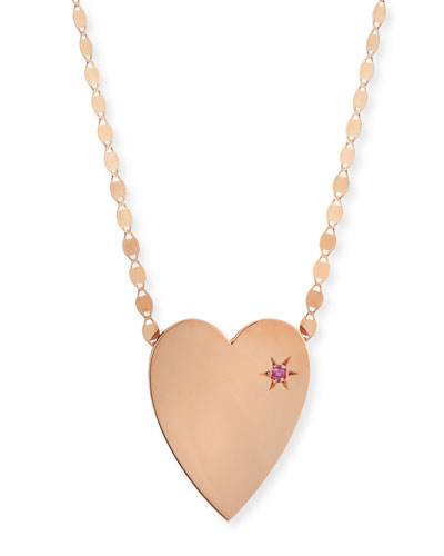 14k Large Heart Pendant Necklace w/ Pink Sapphire
