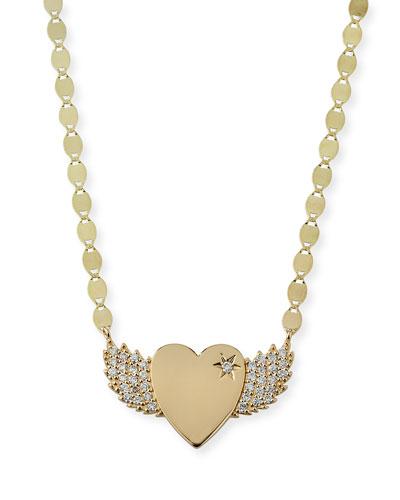 14k Small Diamond Wing Heart Pendant Necklace