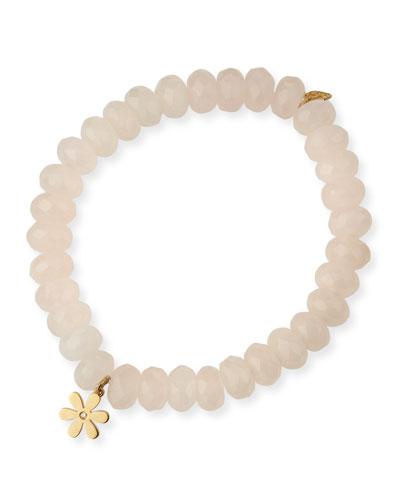 Rose Quartz Beaded Bracelet with Diamond Daisy Charm