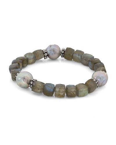 Faceted Labradorite Cube & Pearl Bracelet