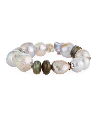 Baroque Pearl, Labradorite & Quartz Stretch Bracelet