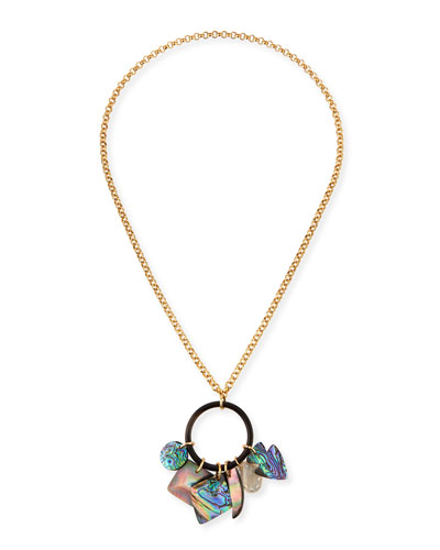 Long Mother-of-Pearl Pendant Necklace