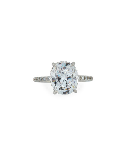 Oval CZ Solitaire Ring w/Pavé Band