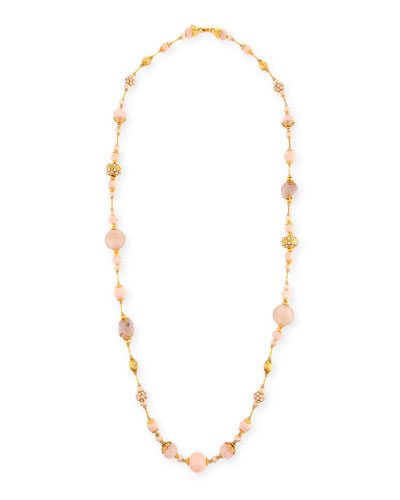 Mixed Rose Quartz & Crystal Pavé Long Beaded Necklace