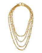 Four-Row Pearly Chain Necklace