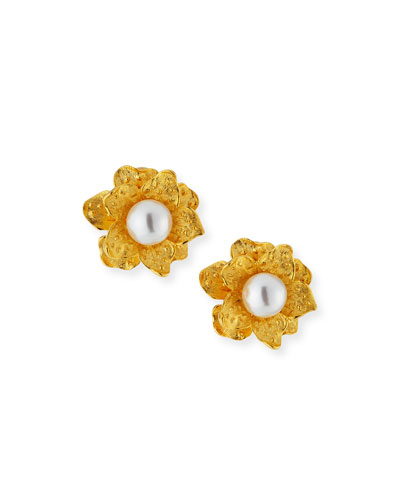 Pearly Satin Flower Clip Earrings
