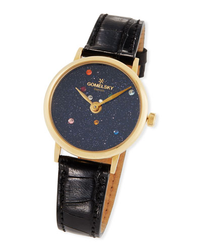 32mm Agnes Solar System Watch w/ Alligator Strap