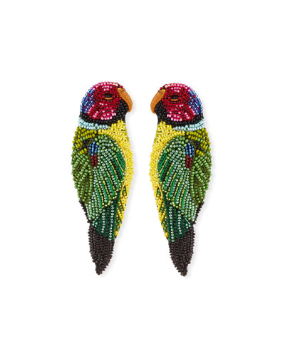 Embroidered Parrot Seed Bead Earrings
