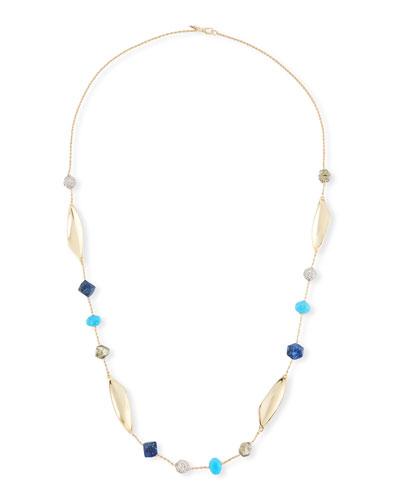 Chrysocolla, Lapis & Turquoise Station Necklace