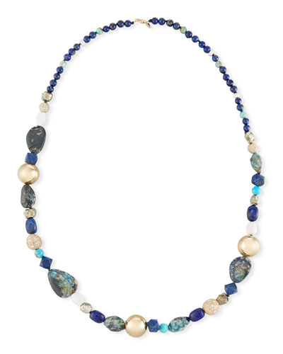 Alexis Bittar Beaded Turquoise & Lapis Double-Chain Necklace sDxz68v
