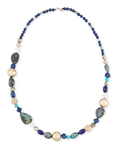 Chrysocolla, Lapis & Turquoise Beaded Necklace