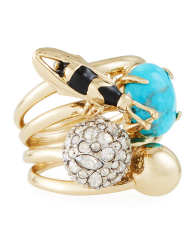 Pavé Crystal Ball & Bee Ring