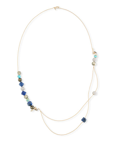 Beaded Turquoise & Lapis Double-Chain Necklace