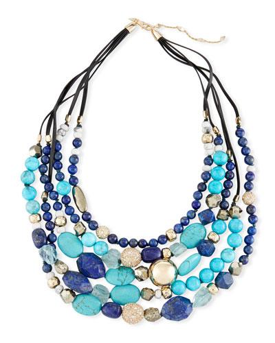 Lapis, Chrysocolla & Pyrite Beaded Necklace
