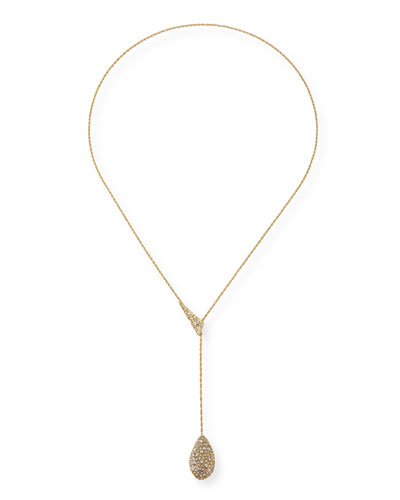Pavé Crystal Teardrop Lariat Necklace