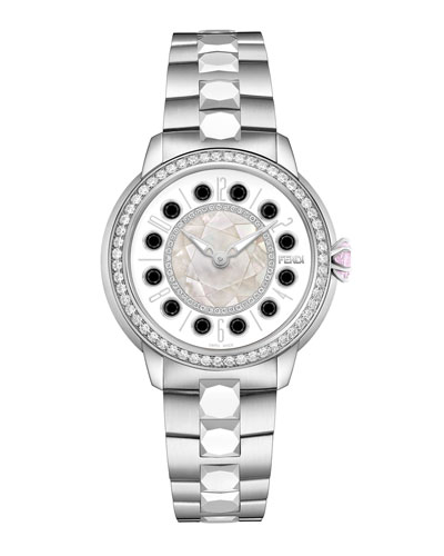 38mm IShine Stainless Steel Bracelet Watch w/Pink Topaz, Black Spinel & ...