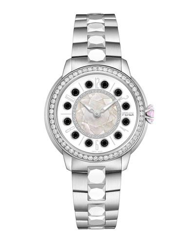 38mm IShine Stainless Steel Bracelet Watch w/Pink Topaz, Black Spinel & ...