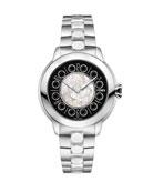 33mm IShine Stainless Steel Bracelet Watch w/Black Spinel