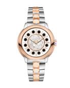33mm IShine Two-Tone Bracelet Watch w/Pink Topaz & Black Spinel