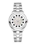 38mm IShine Stainless Steel Bracelet Watch w/Pink Topaz & Black Spinel