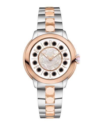 38mm IShine Two-Tone Bracelet Watch w/Pink Topaz & Black Spinel