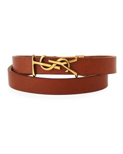 Leather Double-Wrap Bracelet, Brown