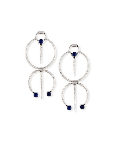 Double Hoop Drop Clip Earrings w/ Blue Enamel